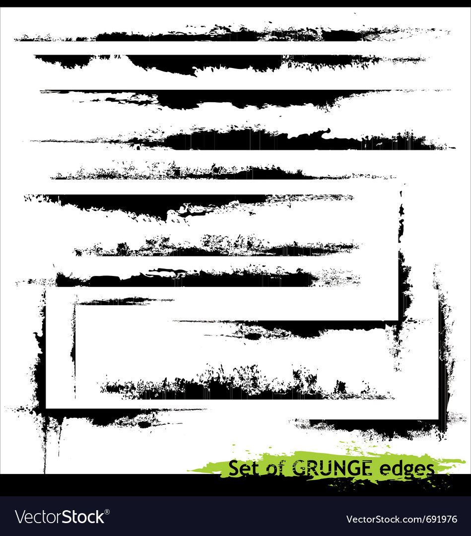 Set of grunge edges vector