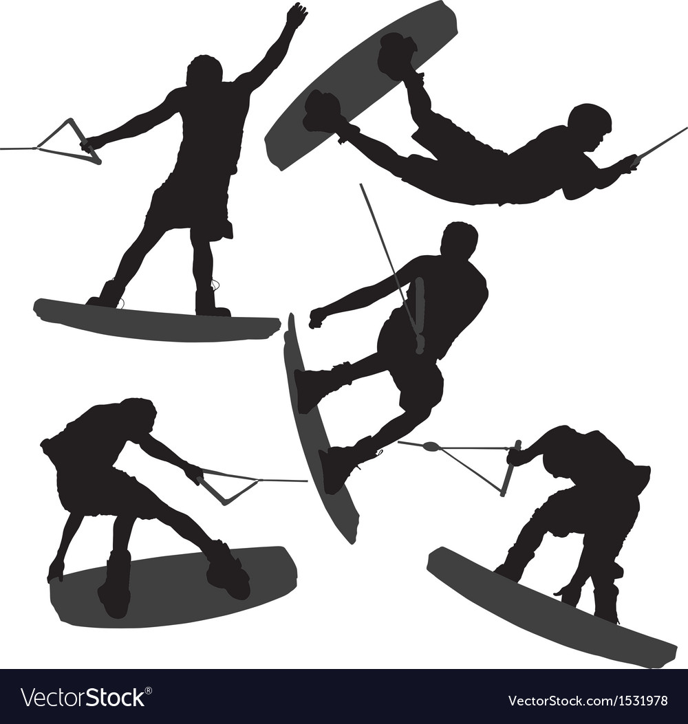 Wakeboarding silhouette vector