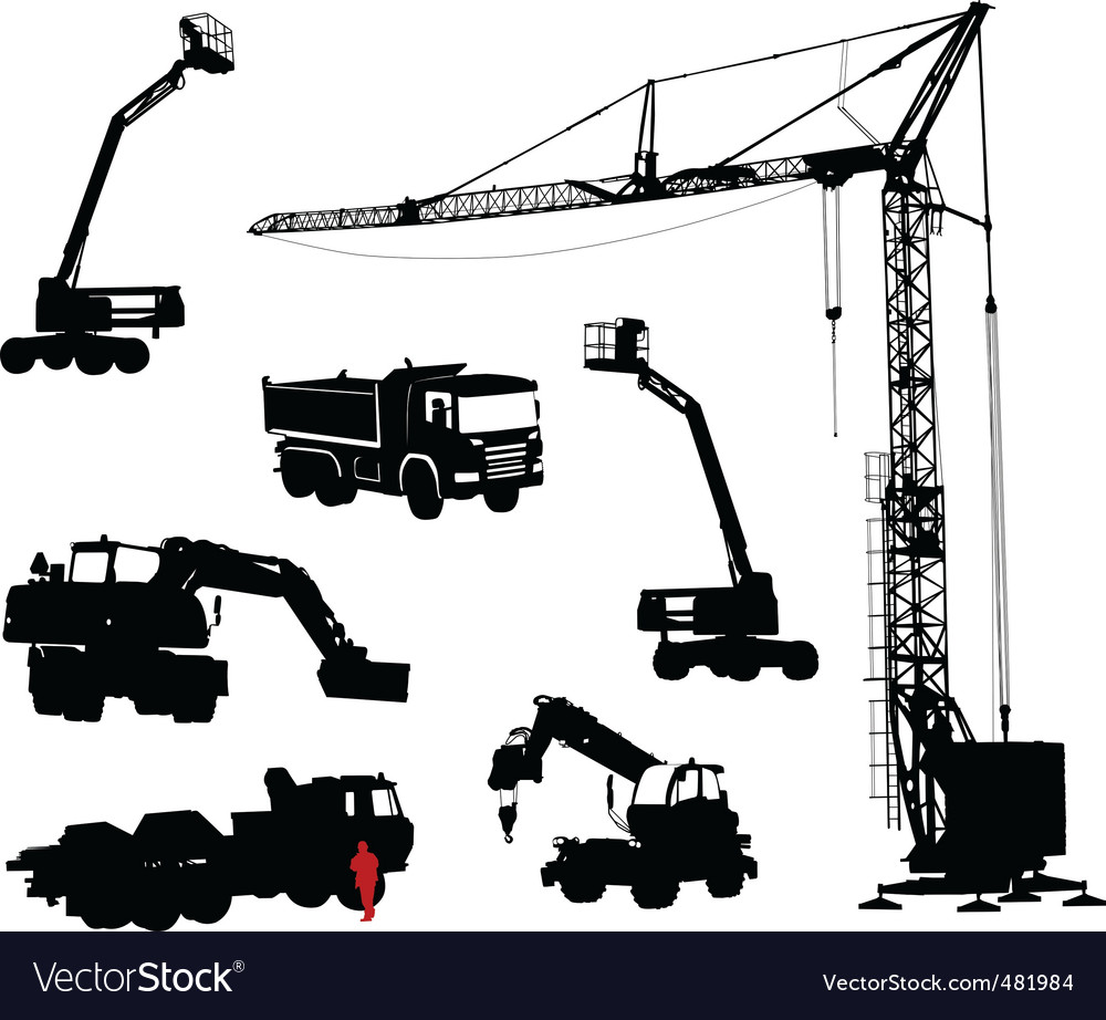 Silhouettes of machinery vector