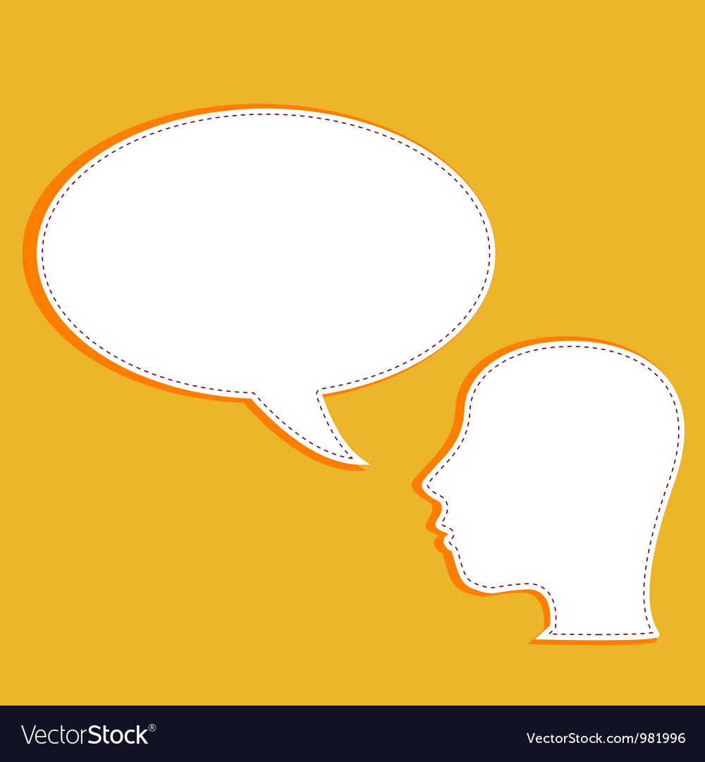 Talking head with speech bubble vector