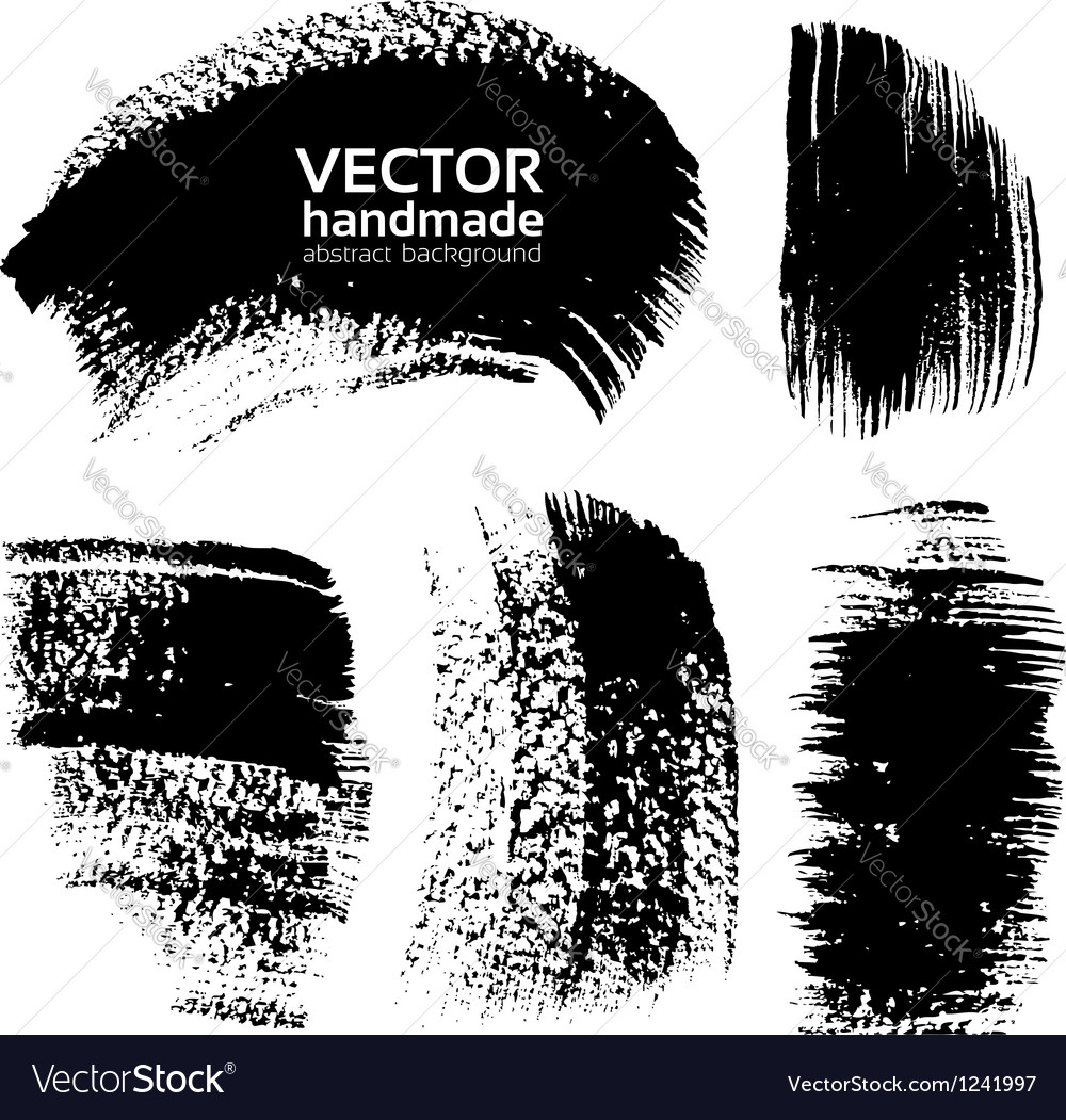 Abstract black brush strokes vector