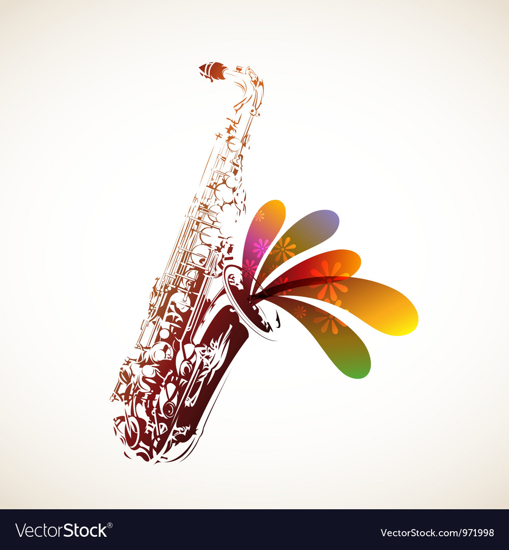 Colorful sax vector