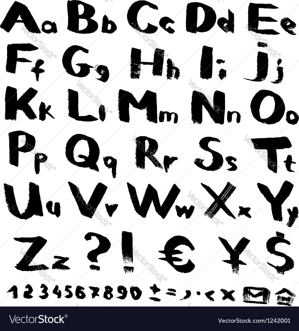 Alphabet and symbols from black brush strokes vector