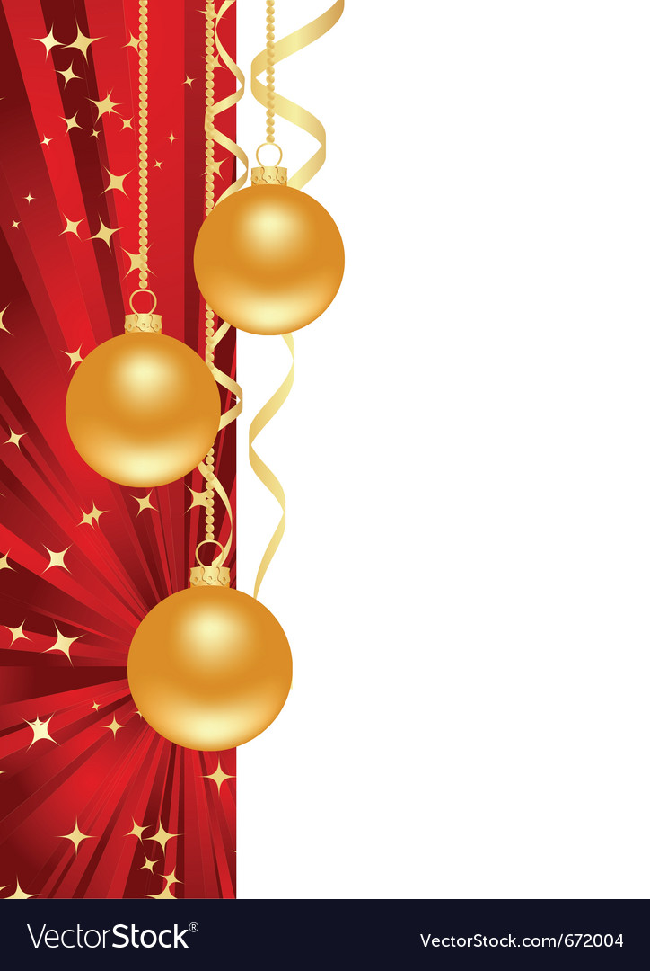 Red background with christmas decorations vector