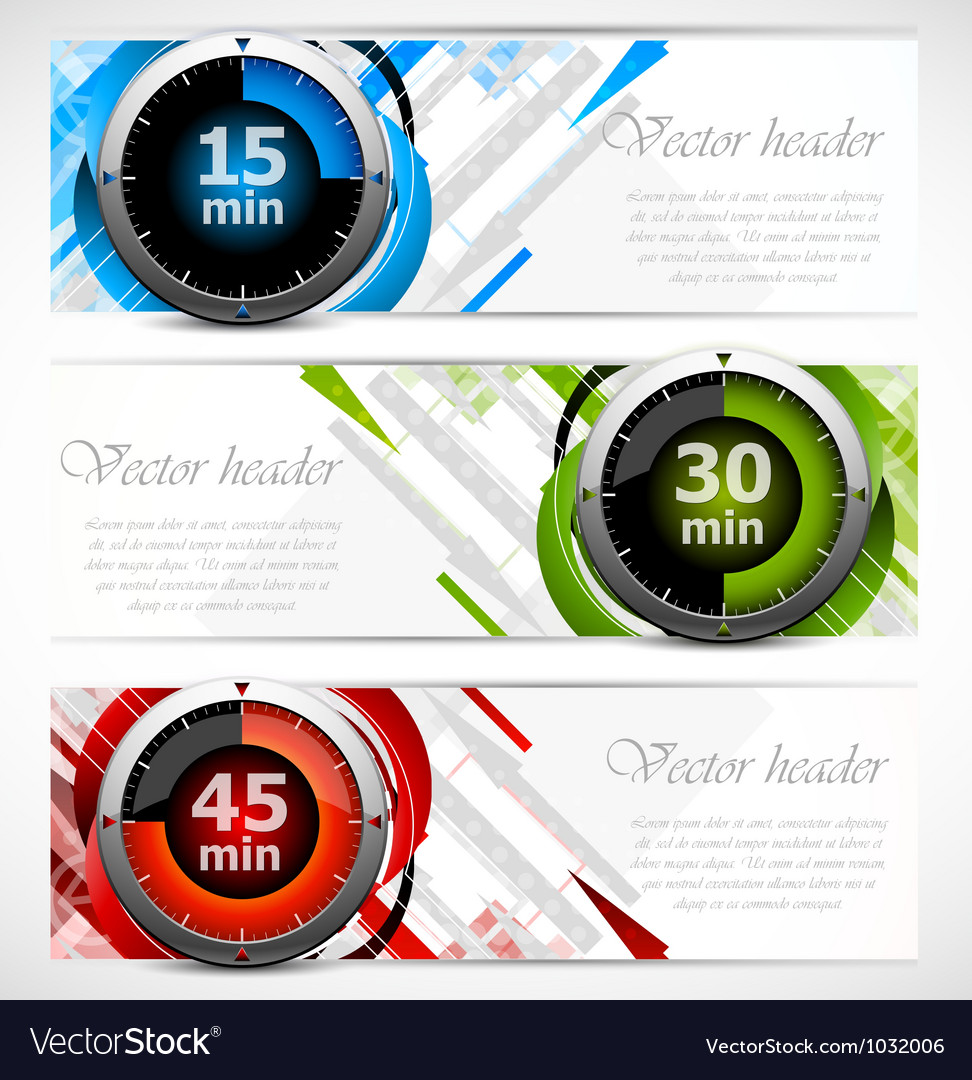 Banners with timers vector