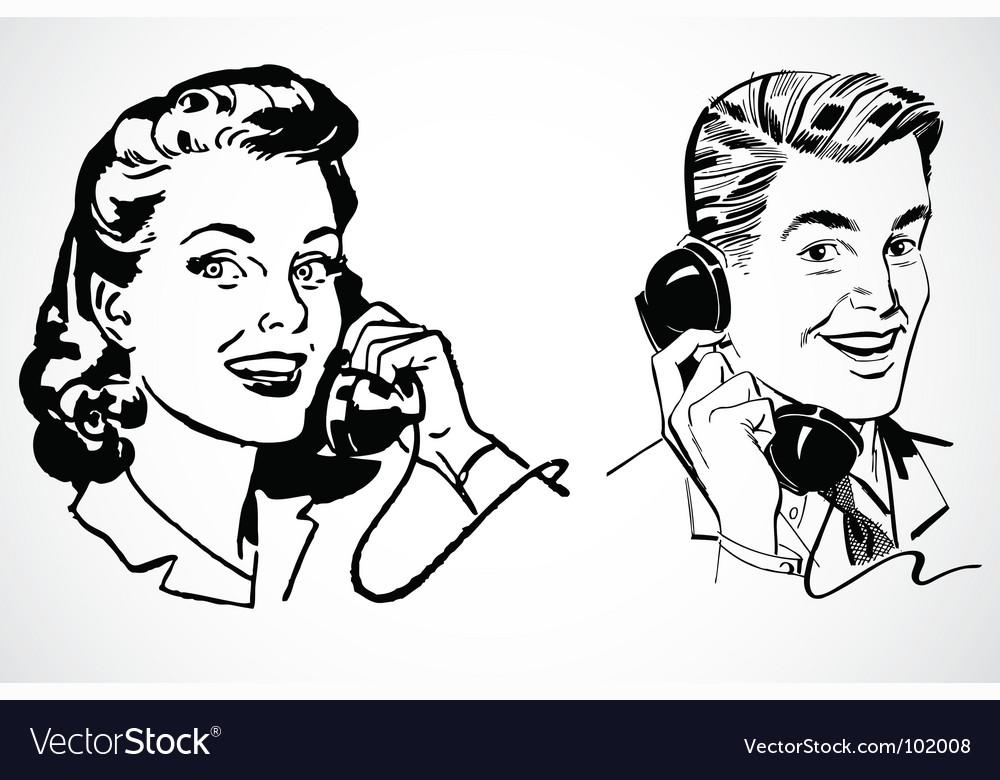 Retro phone conversation vector