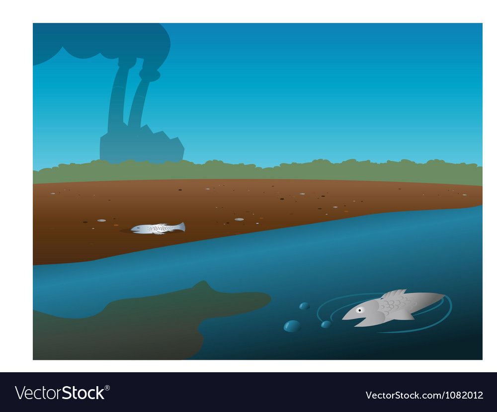 Pollution river vector