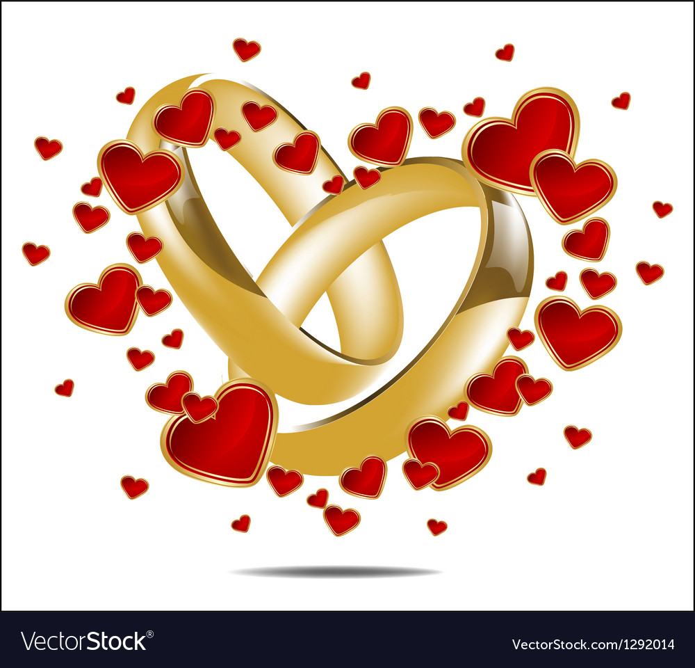 With wedding rings and red heart vector