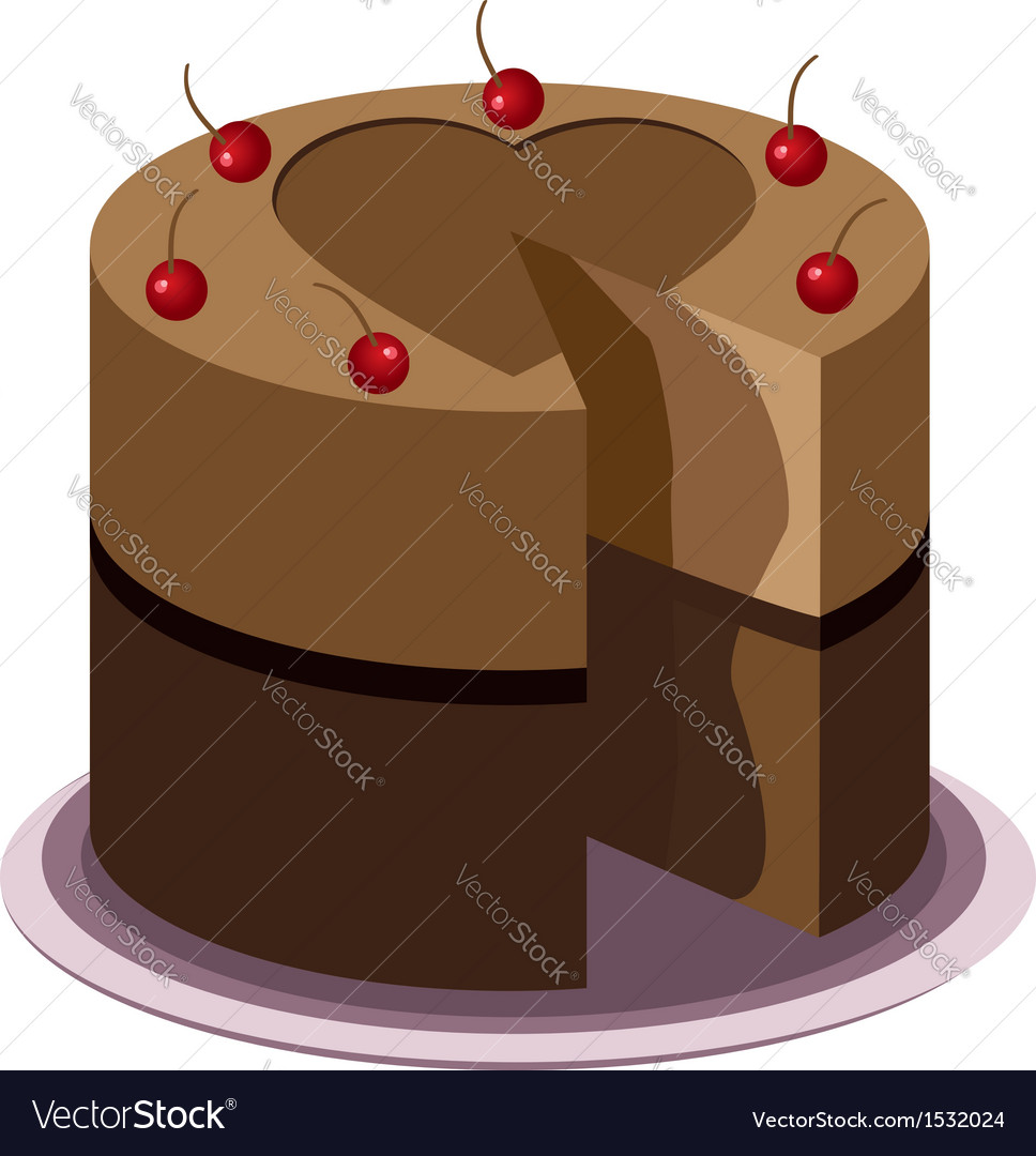 Tasty chocolate cake vector