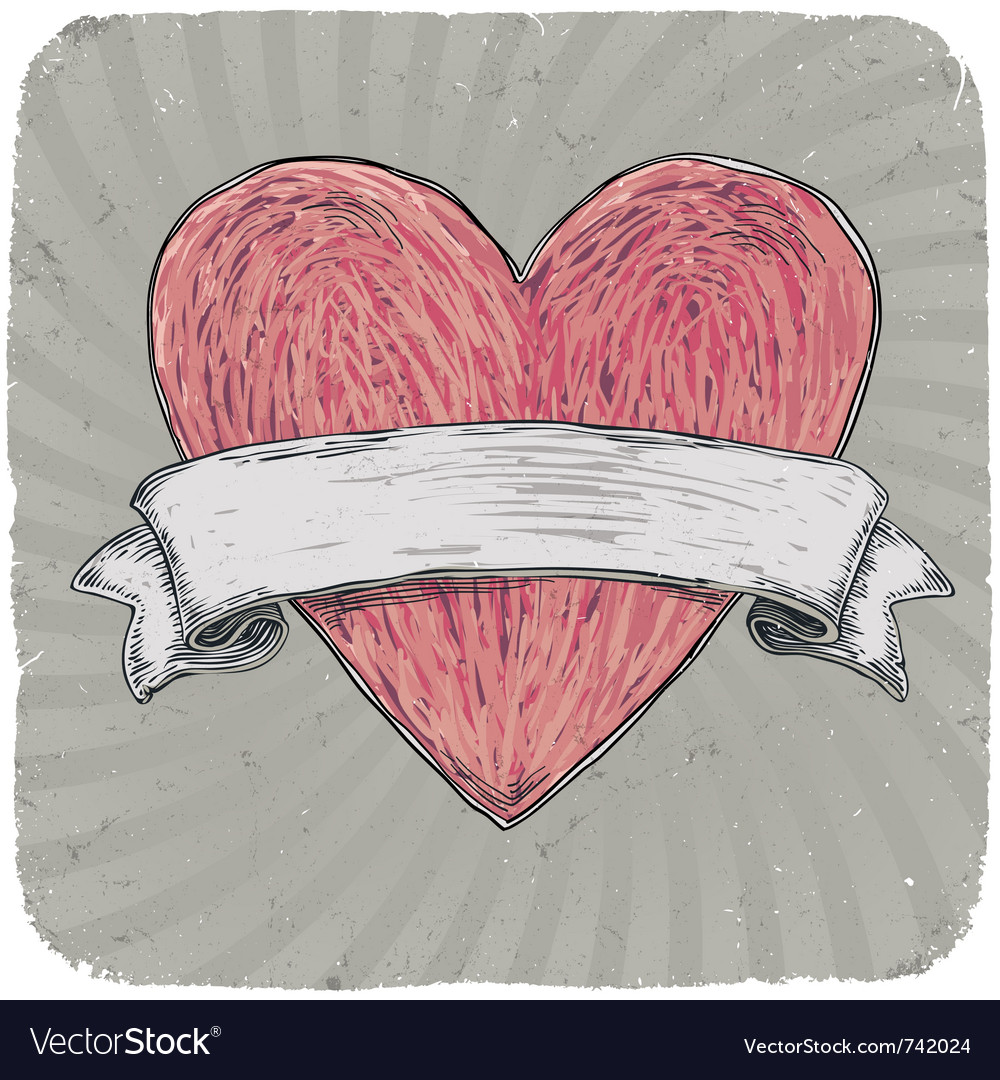 Free vintage heart ribbon vector