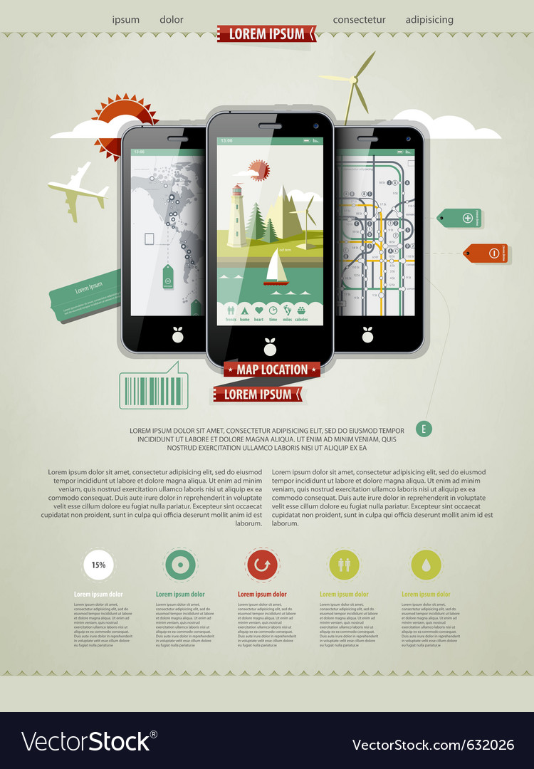 Mobile phones infographics vector