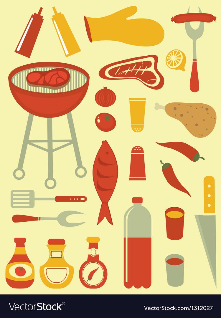 Barbecue set vector