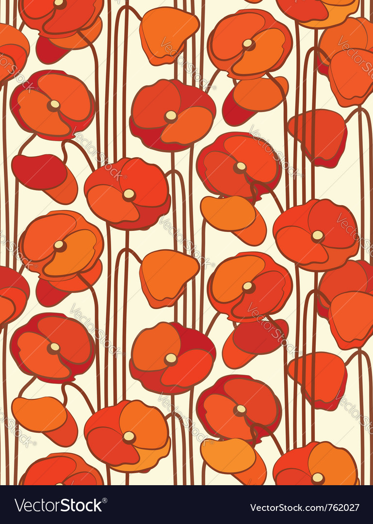 Poppies seamless floral background vector