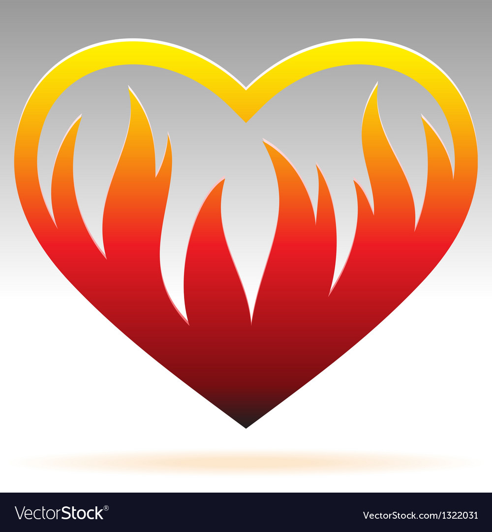 Burning heart sign vector