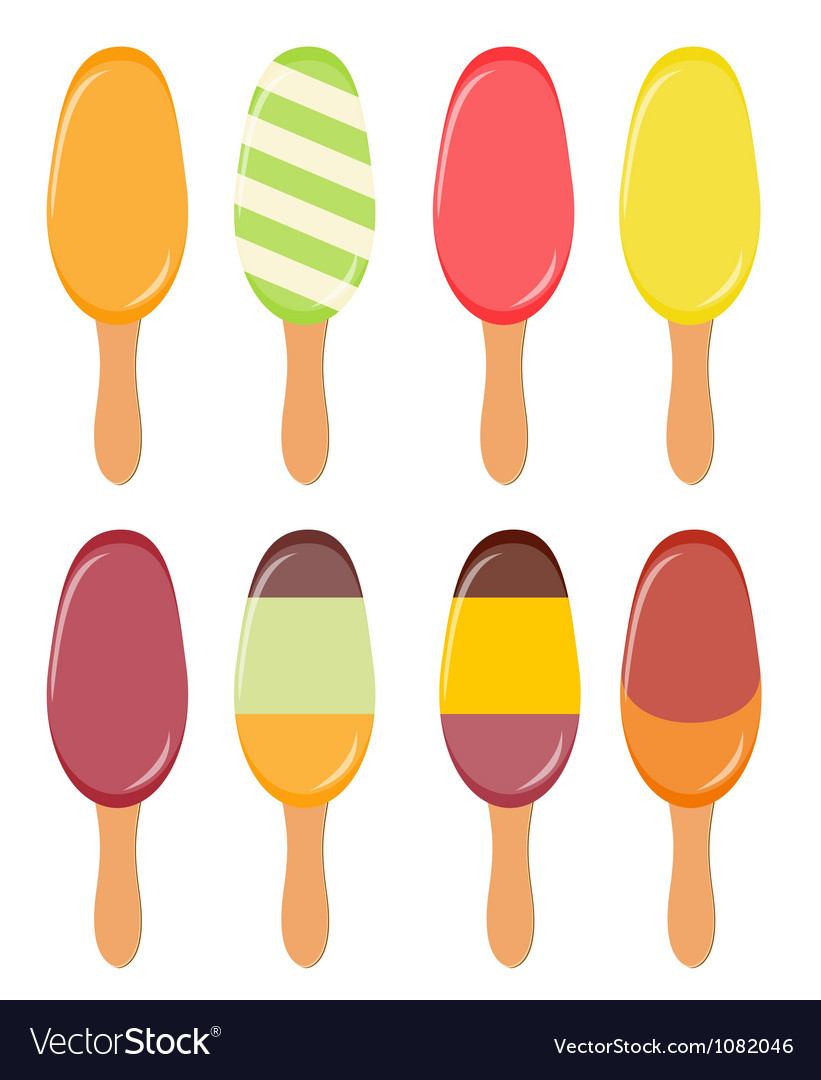 Colorful popsicles vector