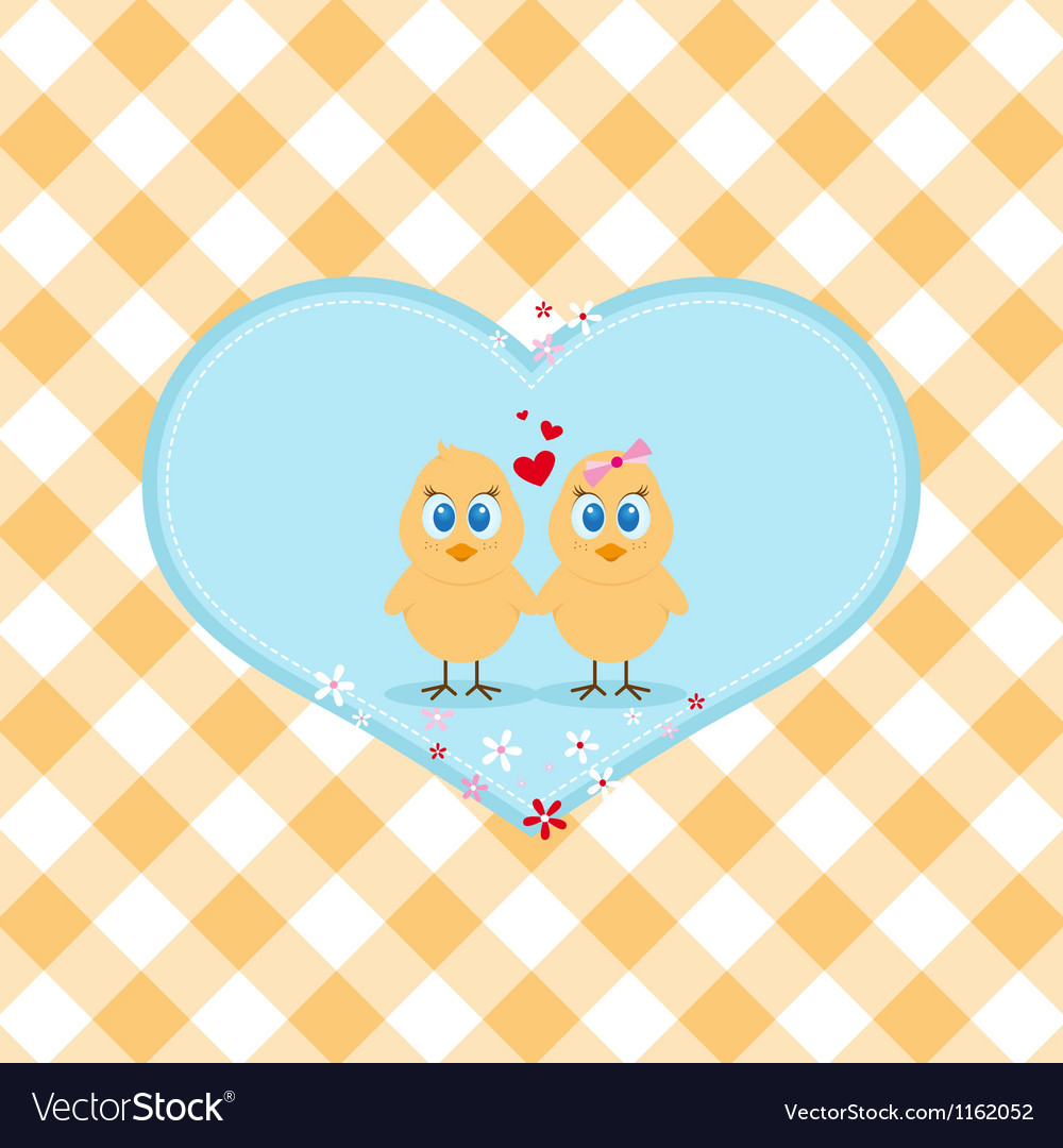 Easter chicken in love vector