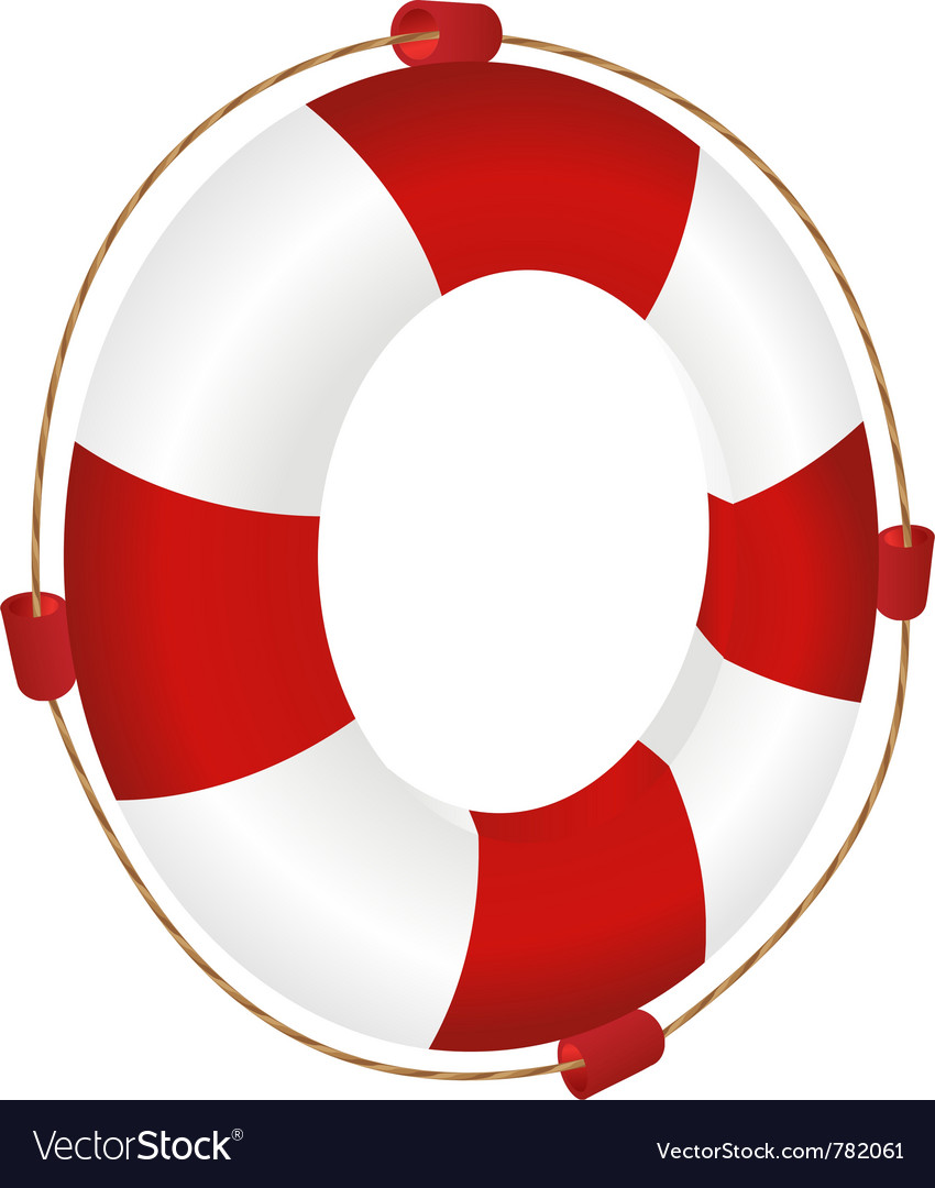 Red ringbuoy with rope vector