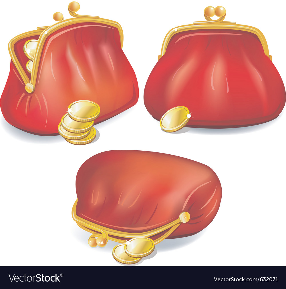 Set of red purse with gold coins vector