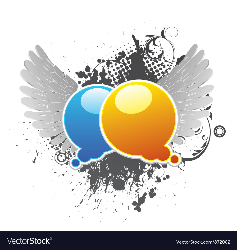Chat bubbles with grunge background and wings vector