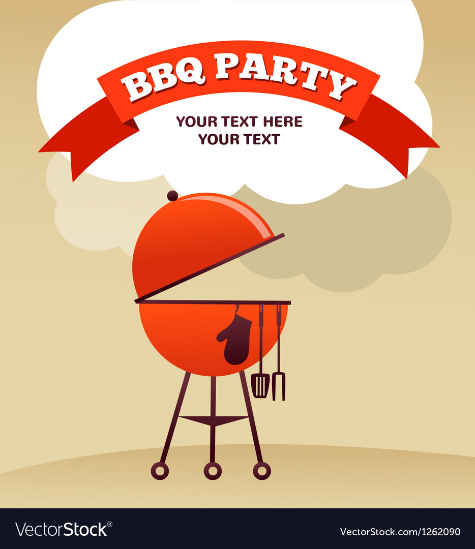Bbq party invitation vector