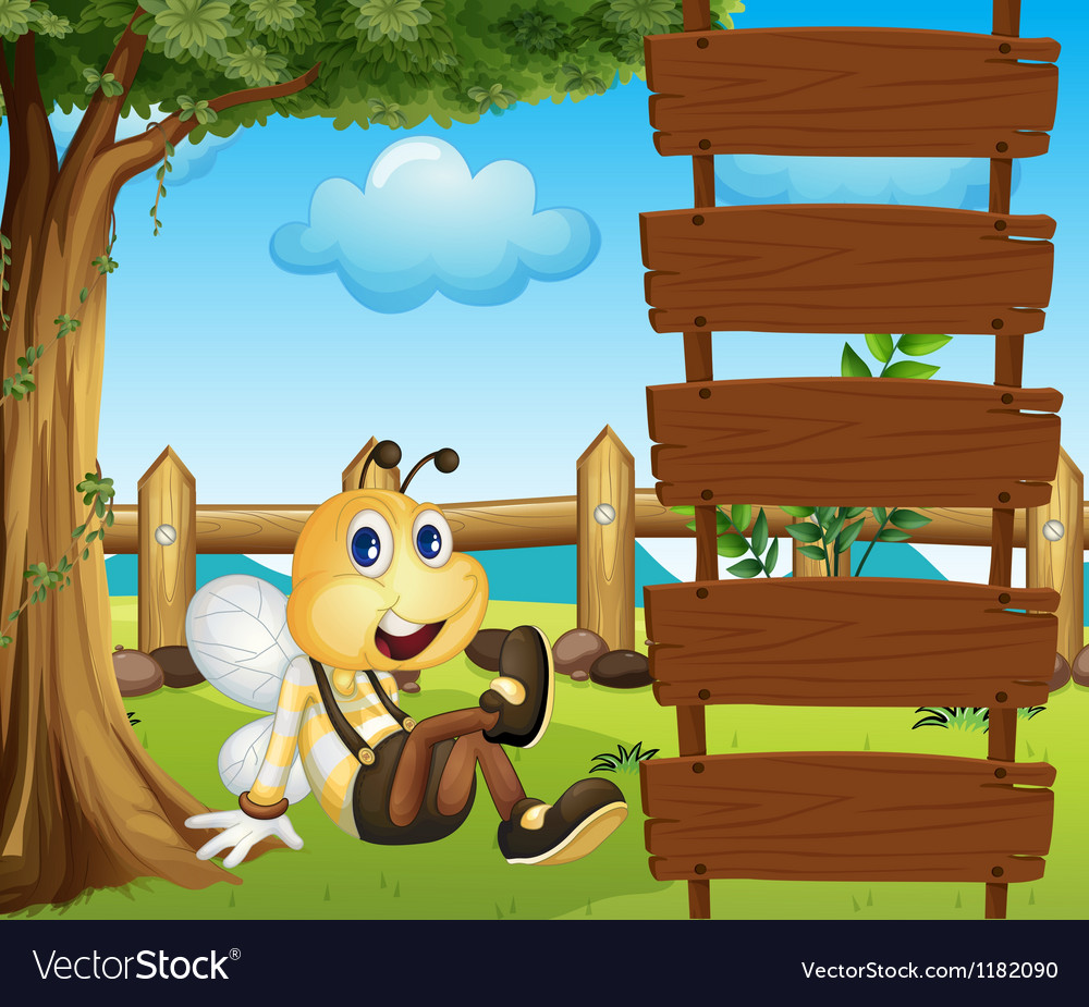 Cartoon bee ladder vector
