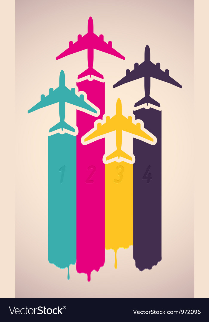 Background with colorful airplanes vector