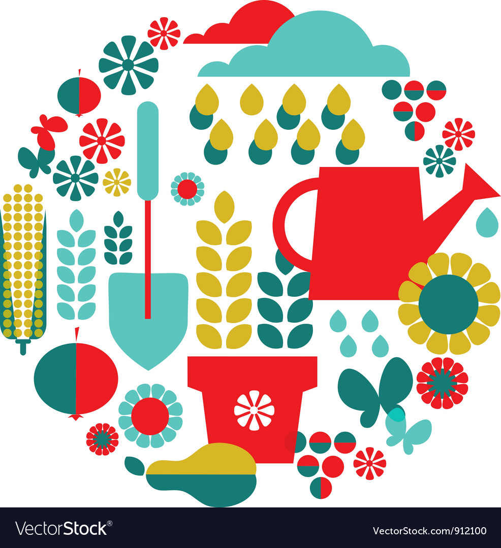 Garden objects organic set vector