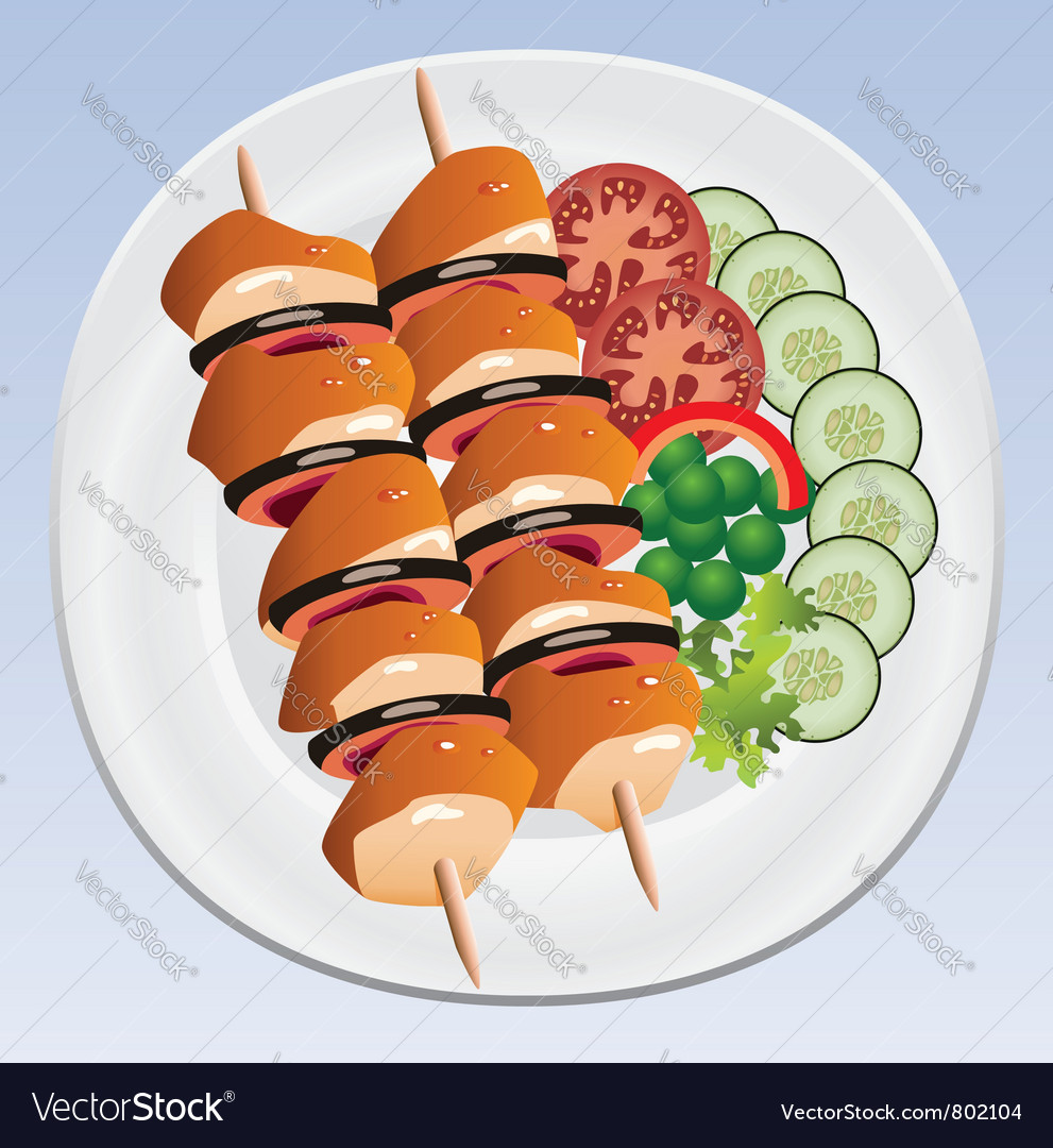 Grilled chicken and vegetables vector