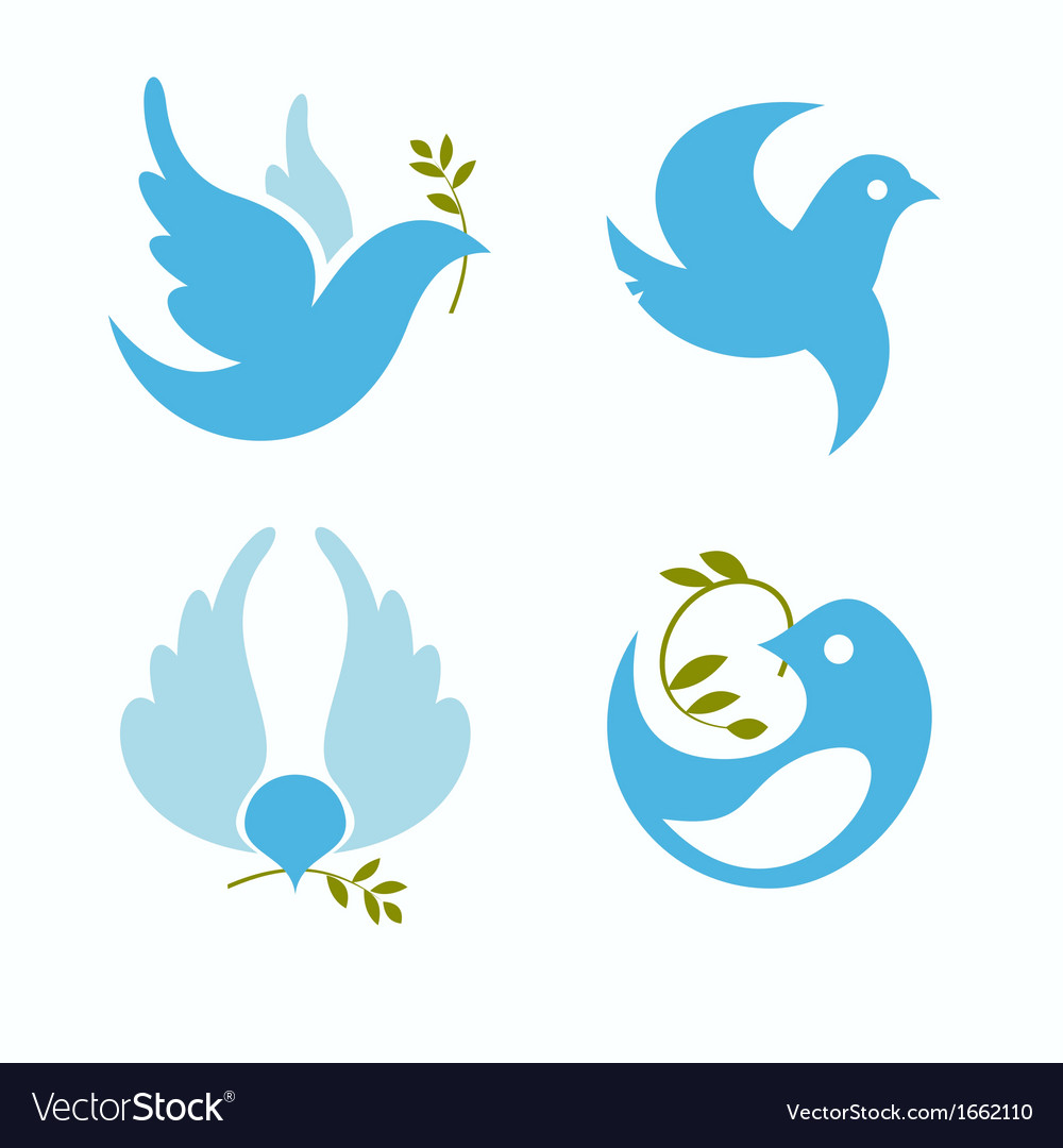 Set of symbols dove of peace vector