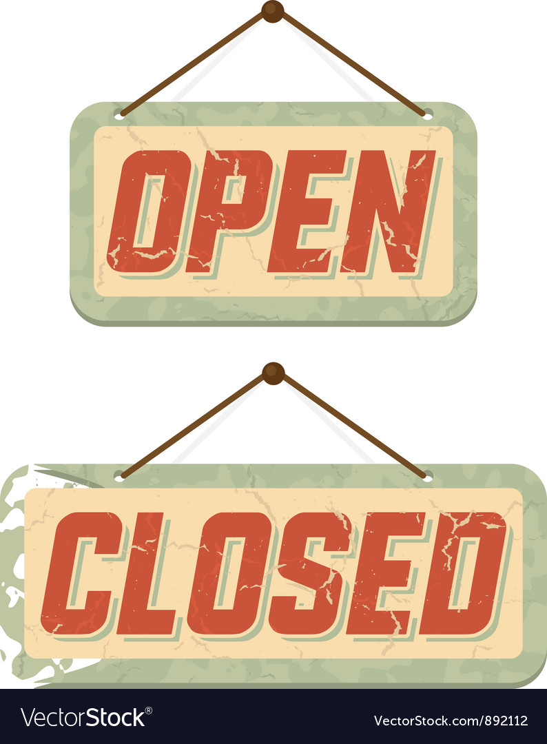 Retro signs open and closed vector