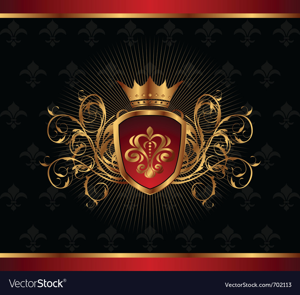 Golden ornate frame with crown - vector