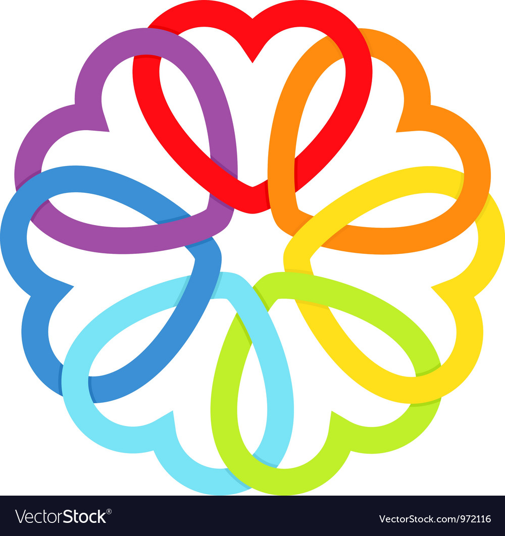 Rainbow connected hearts vector