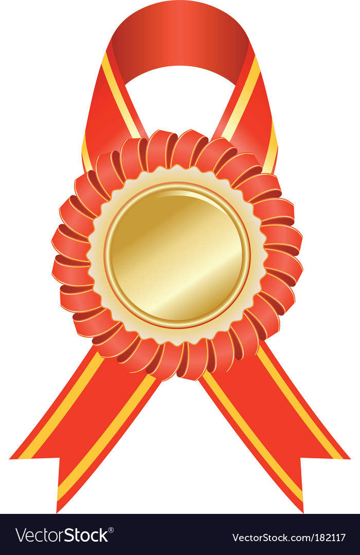 Gold medal with red ribbon vector
