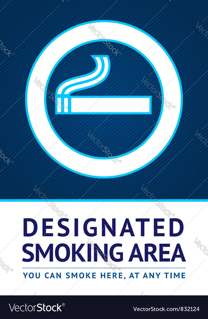 Label smoking area sticker vector