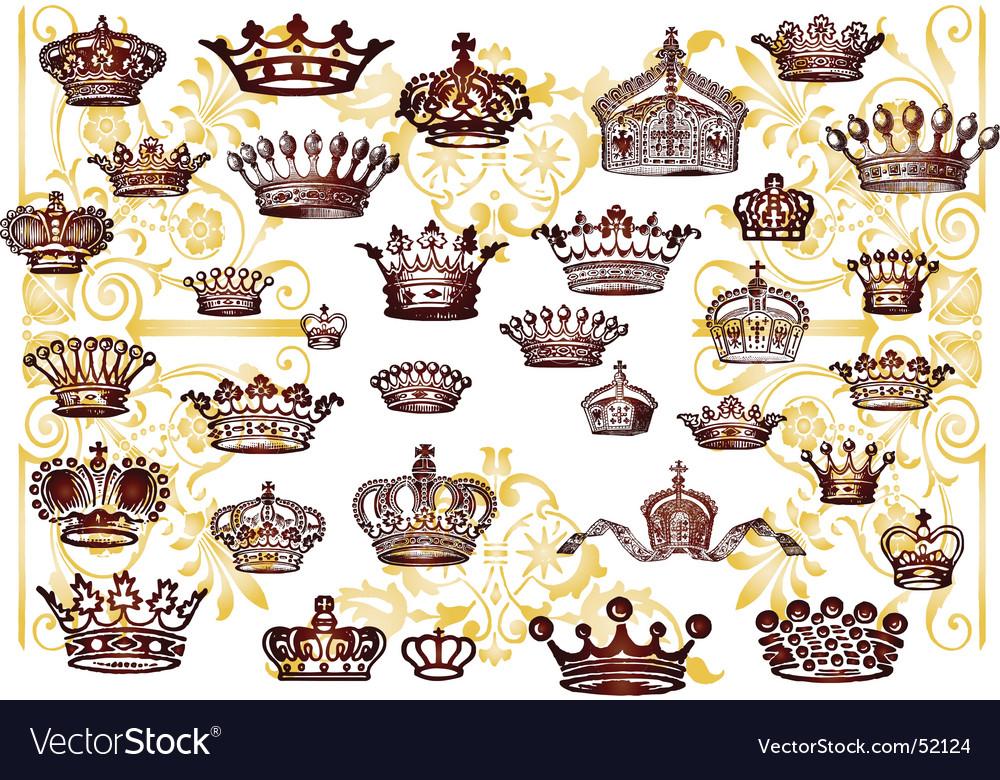 Vintage crown set vector