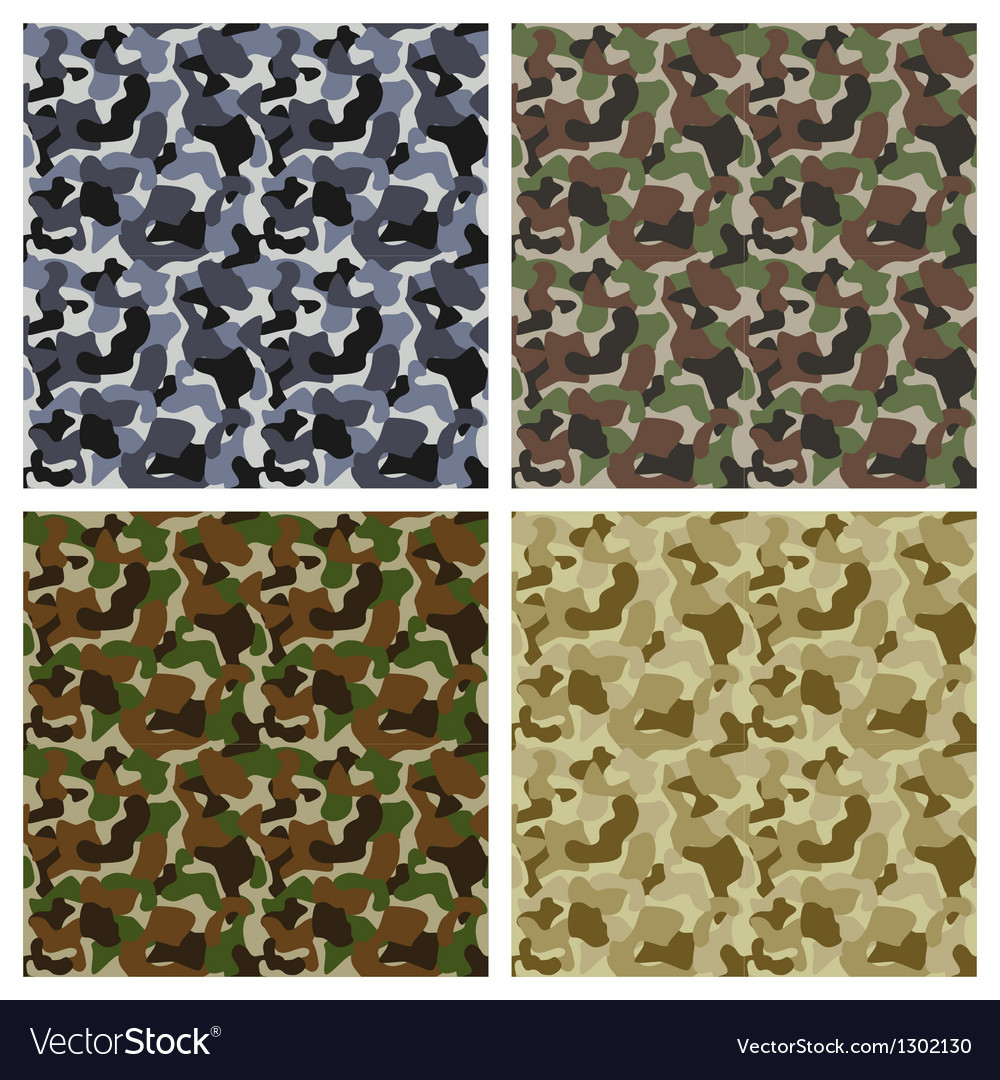 Set of classic camouflage seamless patterns vector