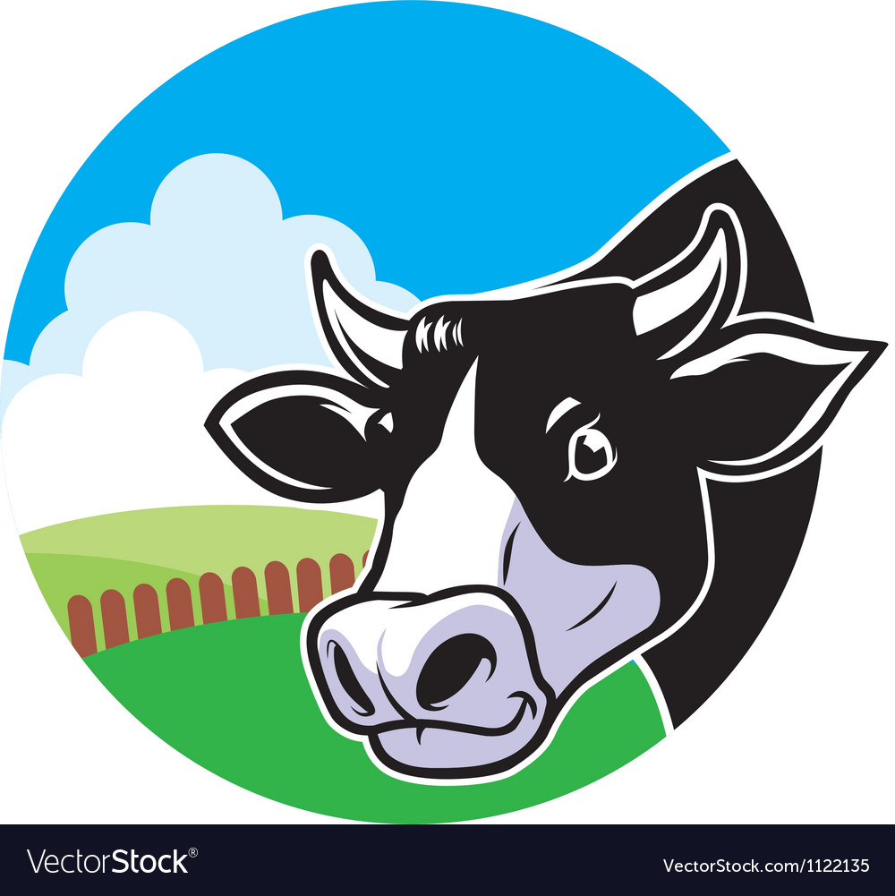Cow head with grassland background vector