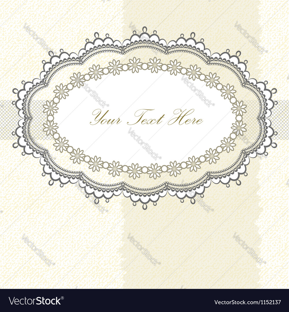 Lace frame on textured background vector