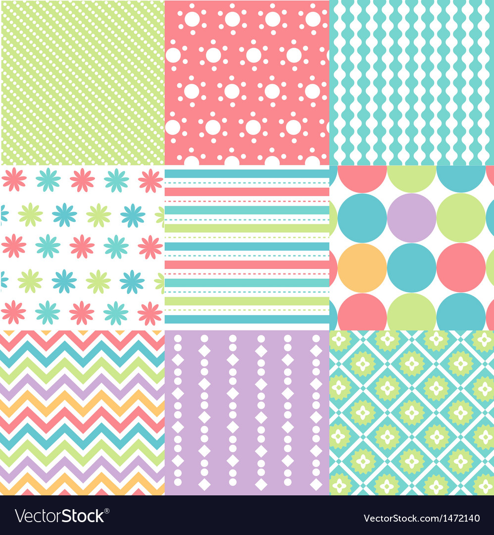 Seamless patterns with fabric texture vector