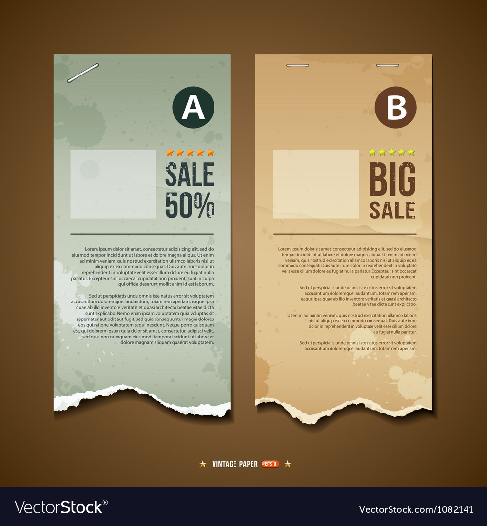 Vintage ripped paper for business design vector