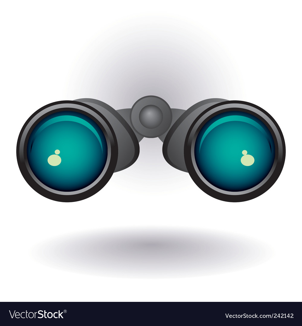 Black binoculars on white background vector