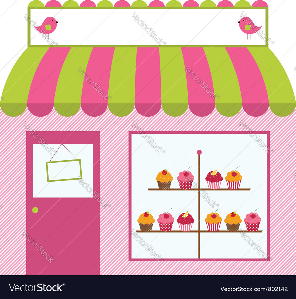Cute shop or cafe design vector