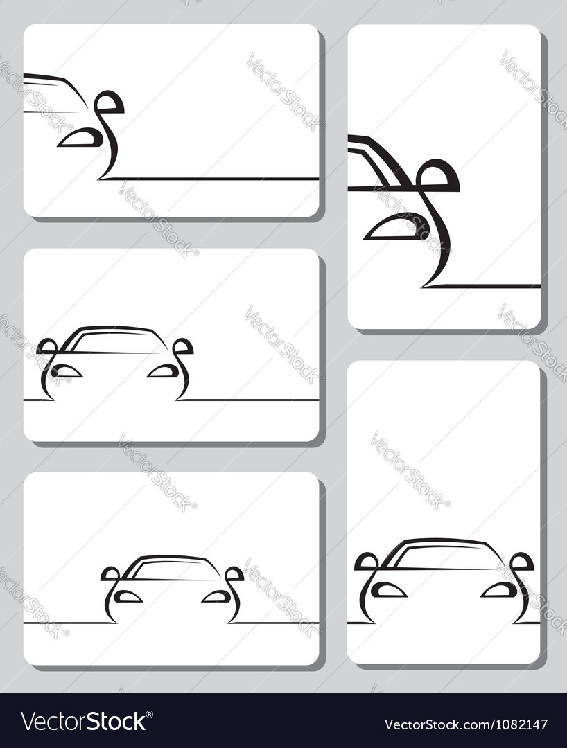 Cards with cars vector