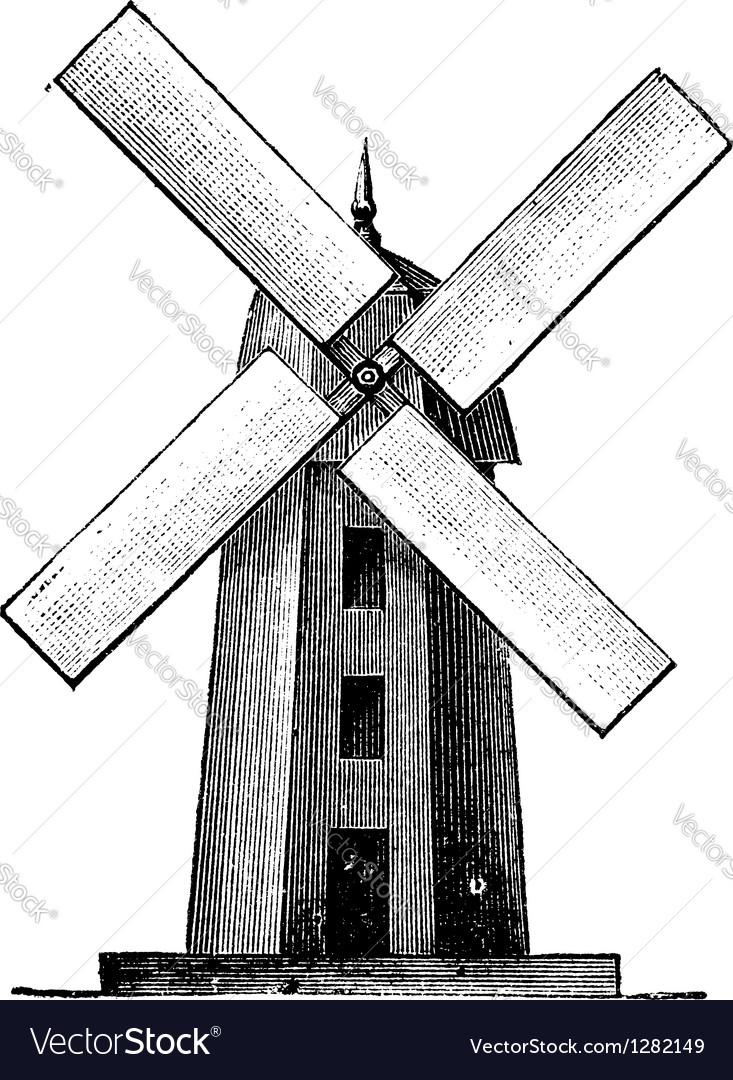 Windmill vintage engraving vector