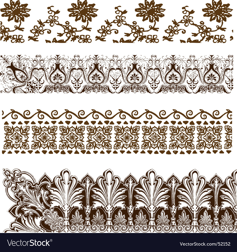 Vintage grunge border elements vector