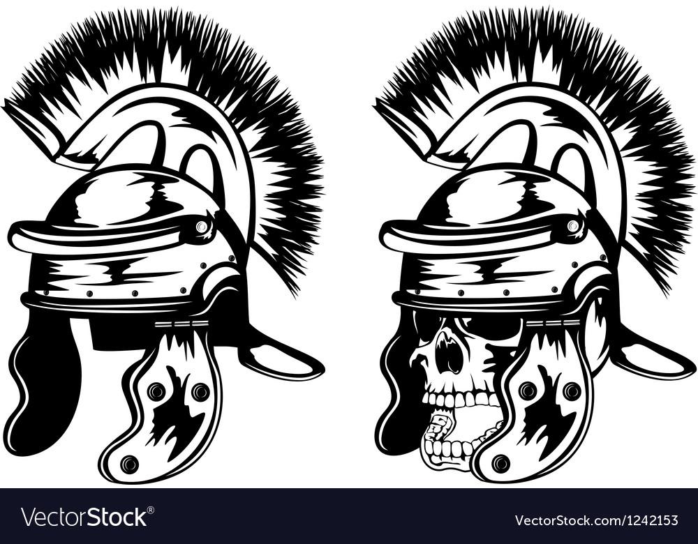 Skull in legionary helmet vector