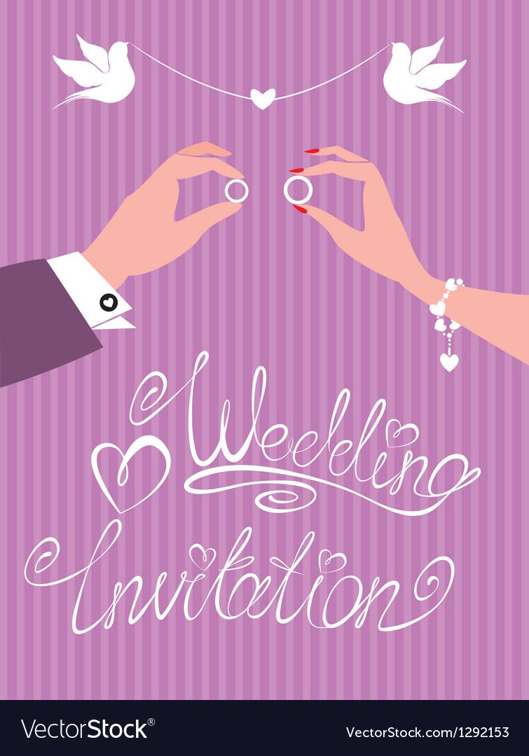 Wedding invitation - groom and bride hands vector