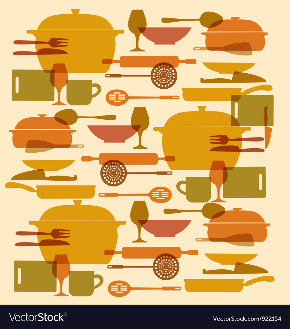Background of kitchenware set vector