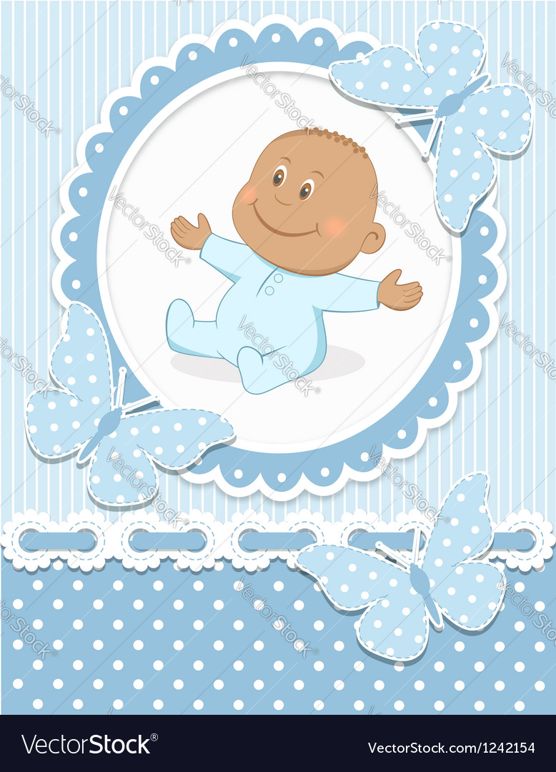 Smiling african baby boy vector