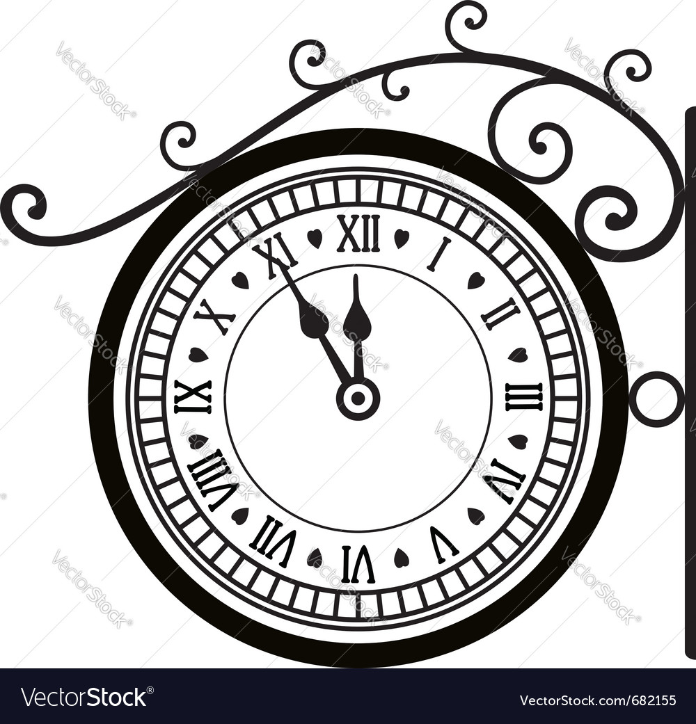 Retro street clock vector